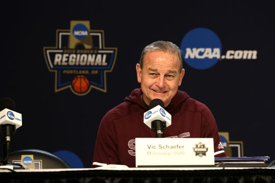 Mississippi State head coach Vic Shaefer answers questions from the media during a press conference prior to the NCAA Women's Regional at the Moda Center in Portland on March 28, 2019.