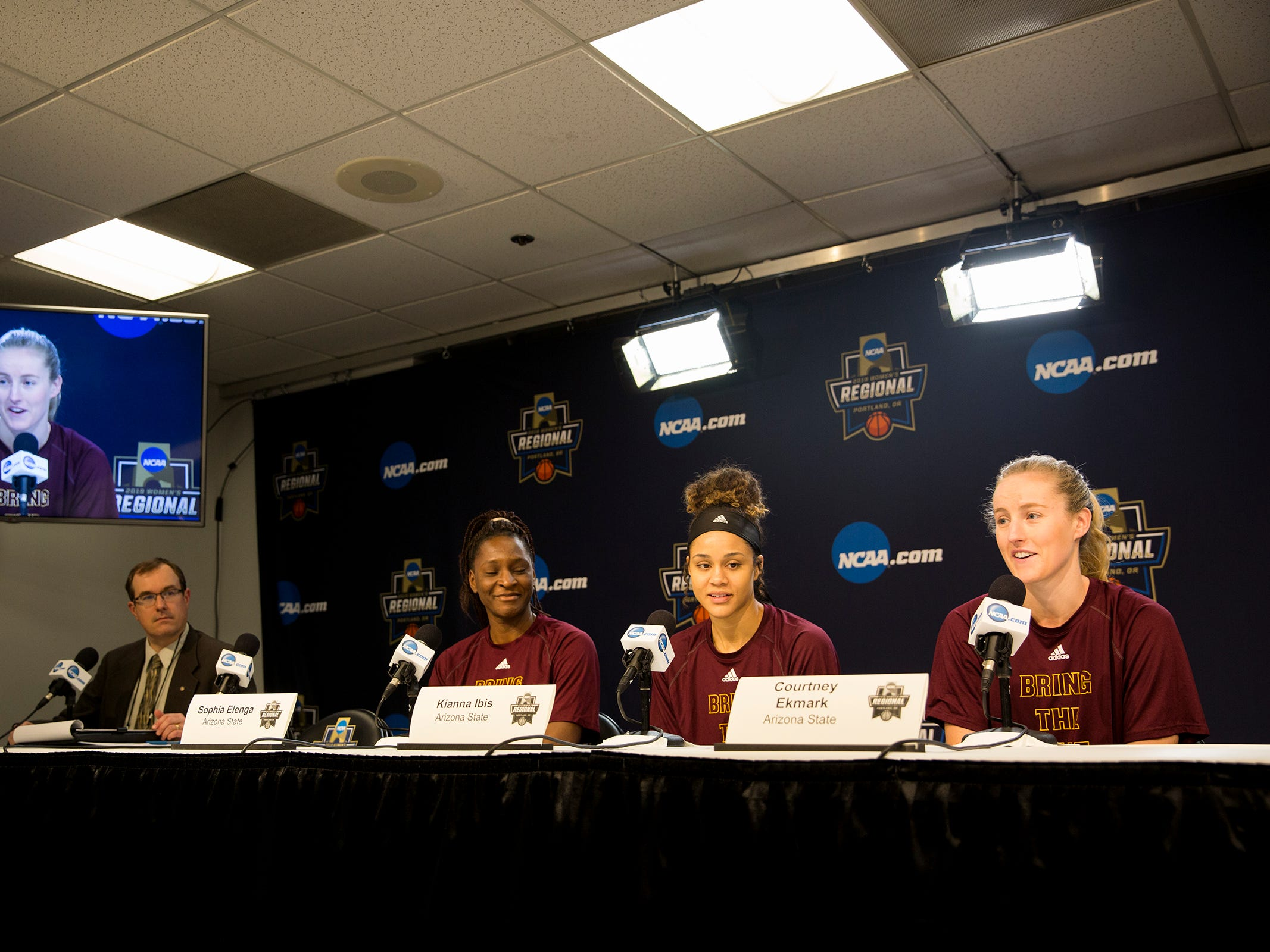 Arizona State University players Sophia Elenga, Kianna Ibis and Courtney Ekmark answer questions during a press conference prior to the NCAA Women's Regional at the Moda Center in Portland on March 28, 2019.
