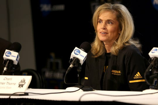 Arizona State University's head coach Charli Turner Thorne during a press conference prior to the NCAA Women's Regional at the Moda Center in Portland on March 28, 2019.