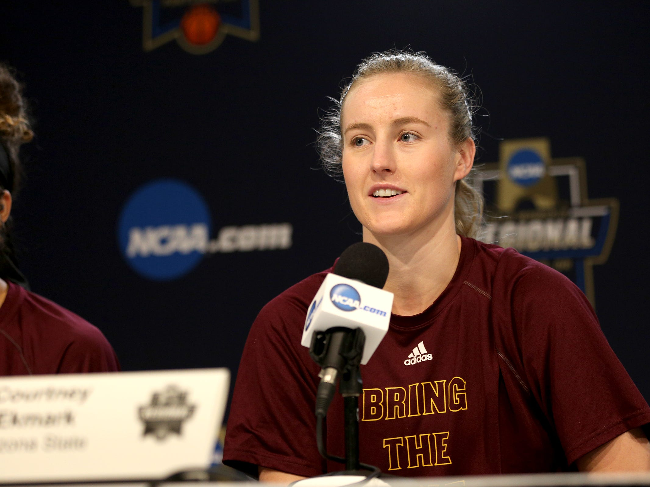 Arizona State University guard Courtney Ekmark answers questions during a press conference prior to the NCAA Women's Regional at the Moda Center in Portland on March 28, 2019.