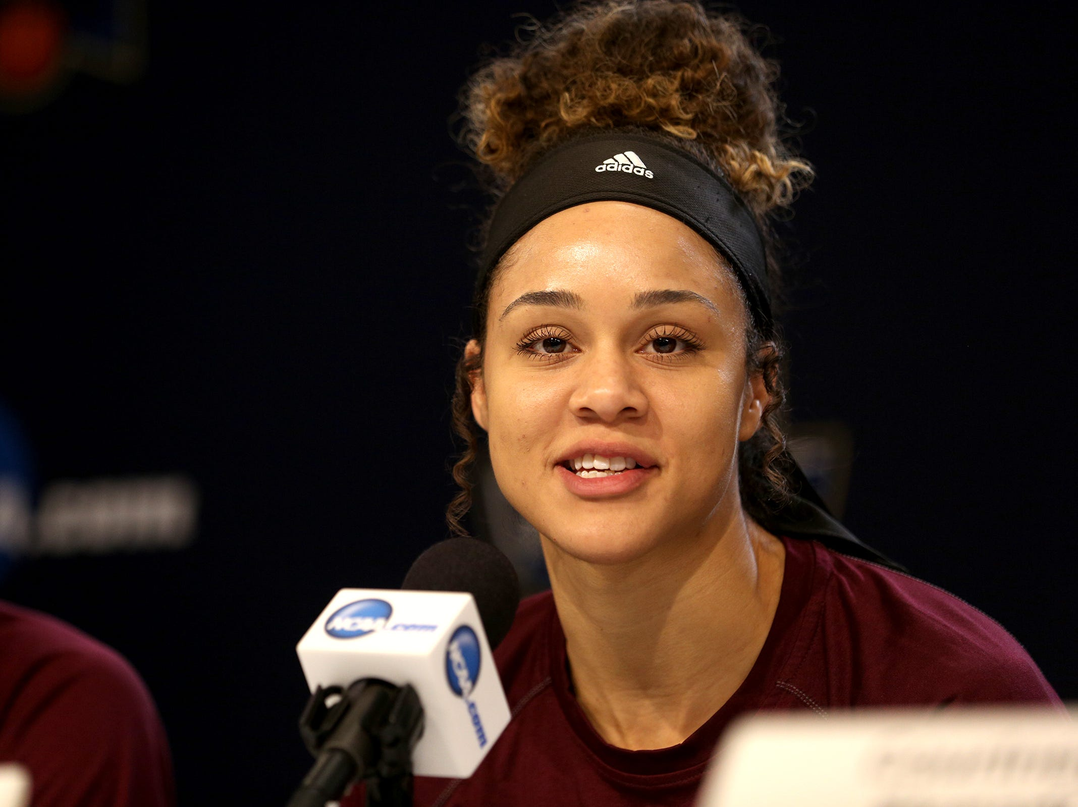 Arizona State University's forward Kianna Ibis answers questions during a press conference prior to the NCAA Women's Regional at the Moda Center in Portland on March 28, 2019.