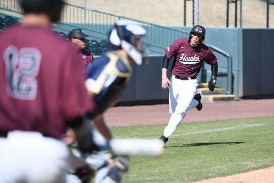 Maryland Eastern Shore's Devynn Hancock rounds third towards home to score the game winning run against Mount St. Mary's on Wednesday, March 27, 2019 at Perdue Stadium in Salisbury, Md.