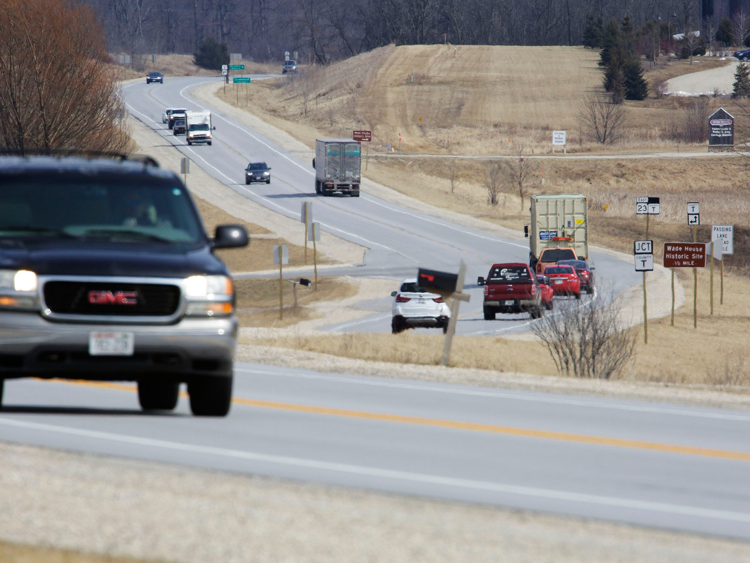 Traffic motors on state Highway 23, Wednesday, March 27, 2019, near Greenbush, Wis.