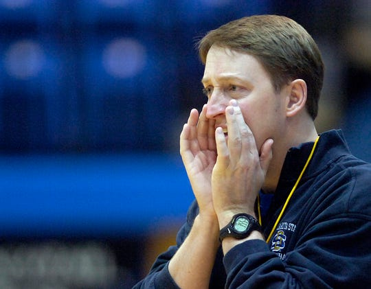 SDSU womens basketball coach Aaron Johnston leads practice Thursday afternoon at Frost Arena.(Elisha Page/Argus Leader)