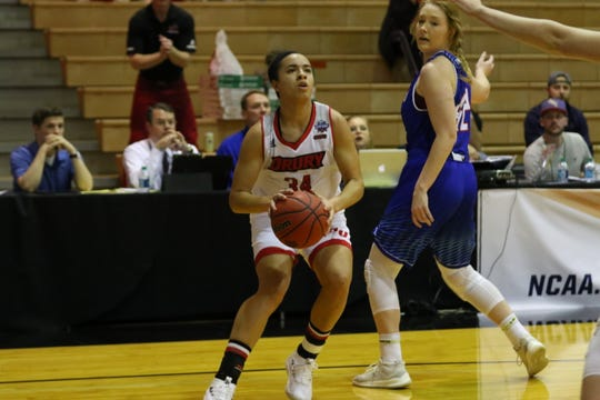 1239- Drury forward Hailey Diestelkamp in Wednesday's game against Lubbock Christian.