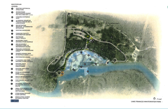 The $15 million Lake Frances White Water Park will be in a 1,000-foot side channel of the Illinois River, a few miles southwest of Siloam Springs, Arkansas.