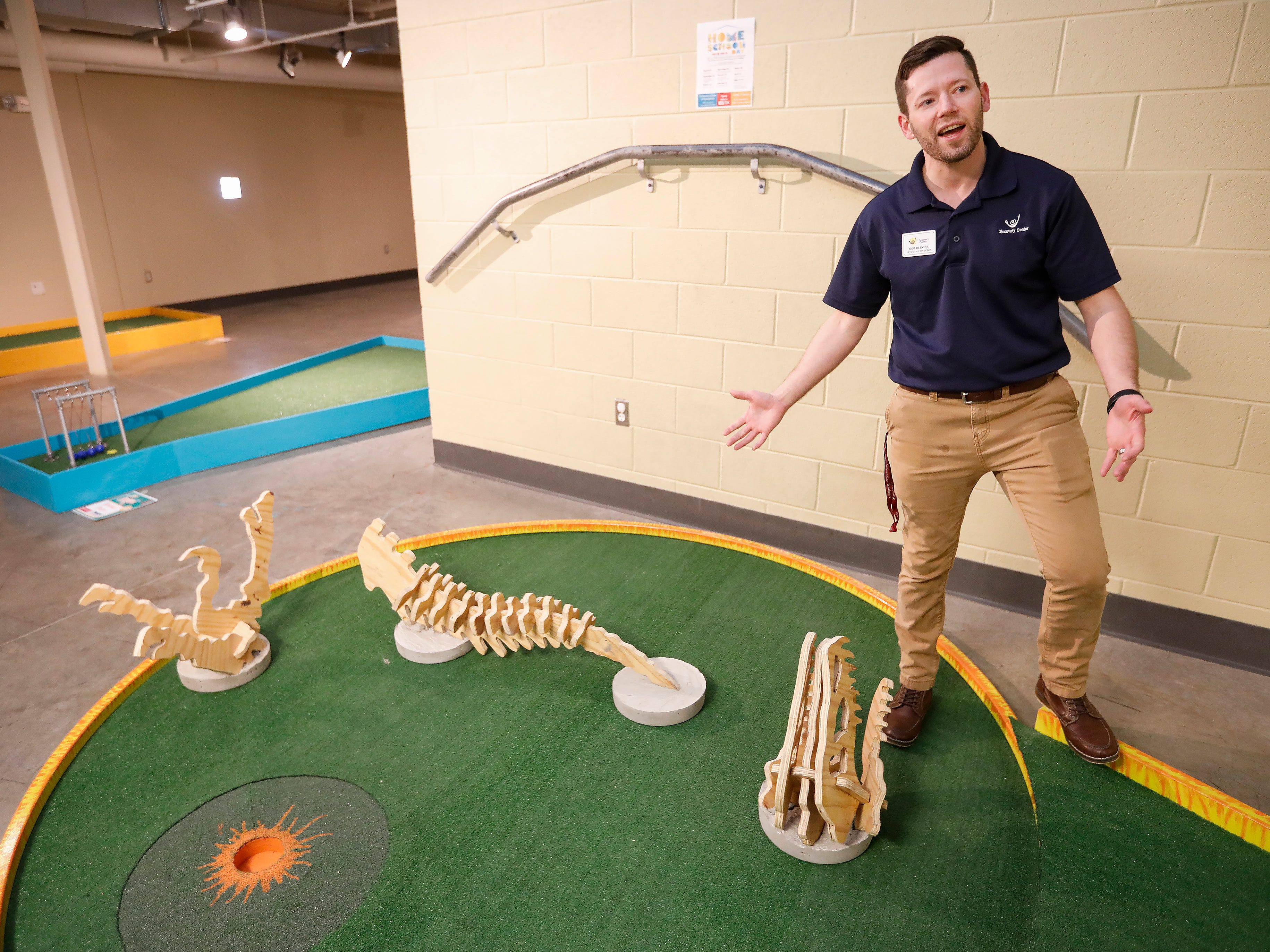 Rob Blevins, executive director at the Discovery Center, talks about the new 9-hole indoor miniature golf course at the science museum. The new exhibit opens to the public on Sunday, March 31, 2019.