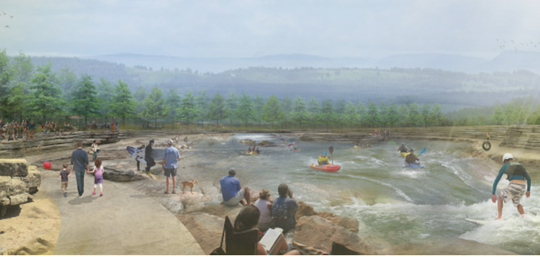 An artist's rendering of what the Lake Frances White Water Park will look like after it's built near Siloam Springs, Arkansas.