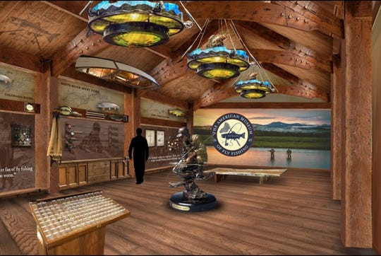 An artist rendering of what the new fly fishing museum exhibit will look like.