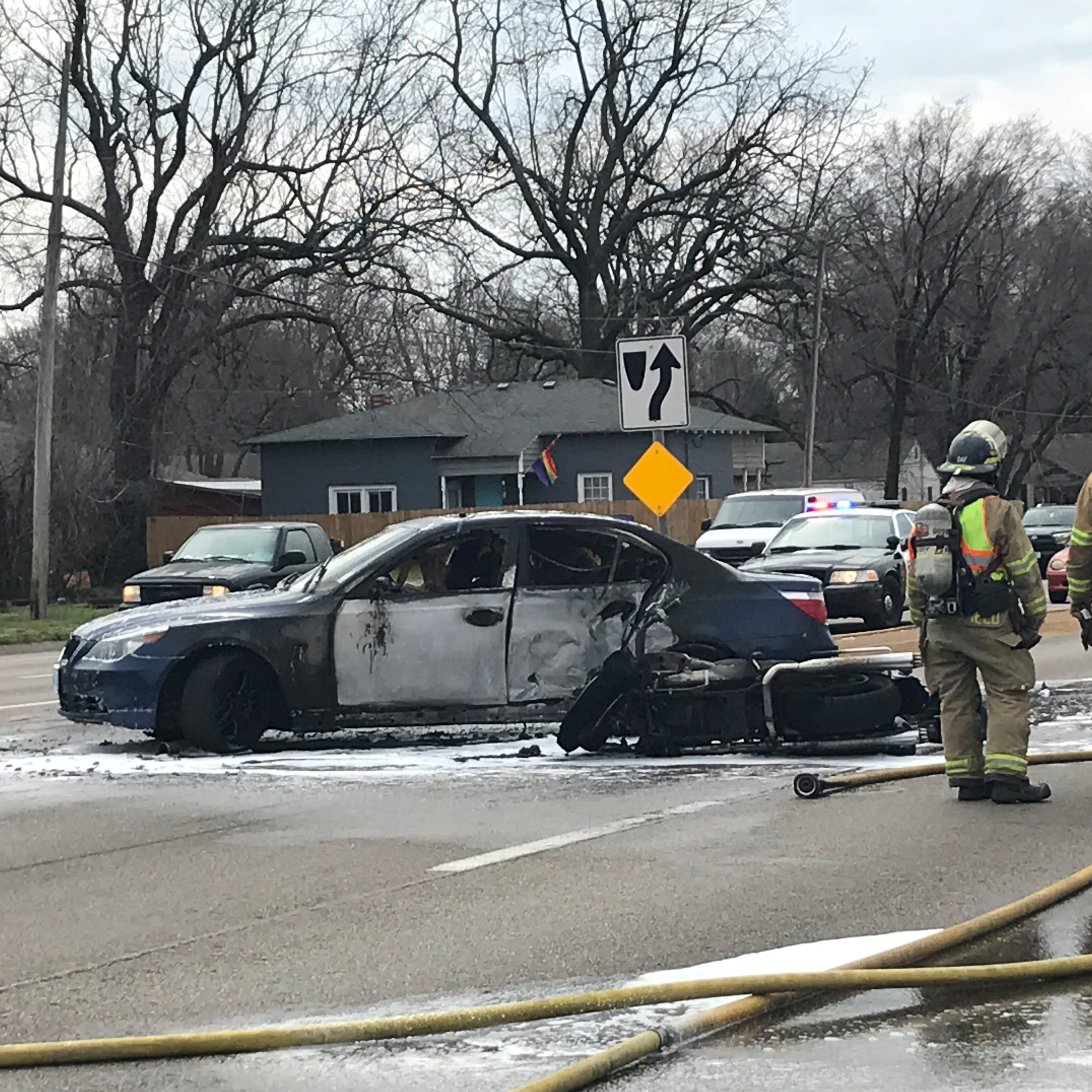 One dead after motorcycle, car catch fire in west Springfield crash