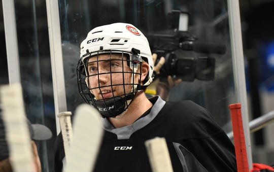 St. Cloud State's Spencer Meier is all smiles Thursday at practice in Fargo, North Dakota. The freshman from Sartell is back at Scheels Arena, where he helped win a Clark Cup trophy with the USHSL's Fargo Force.
