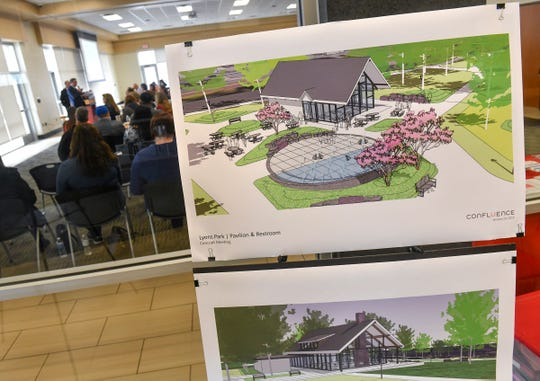 Conceptual drawings of planned improvements at Lions park in Sauk Rapids are on display Thursday, March 28, during a State of the City presentation at the Sauk Rapids Government Center.