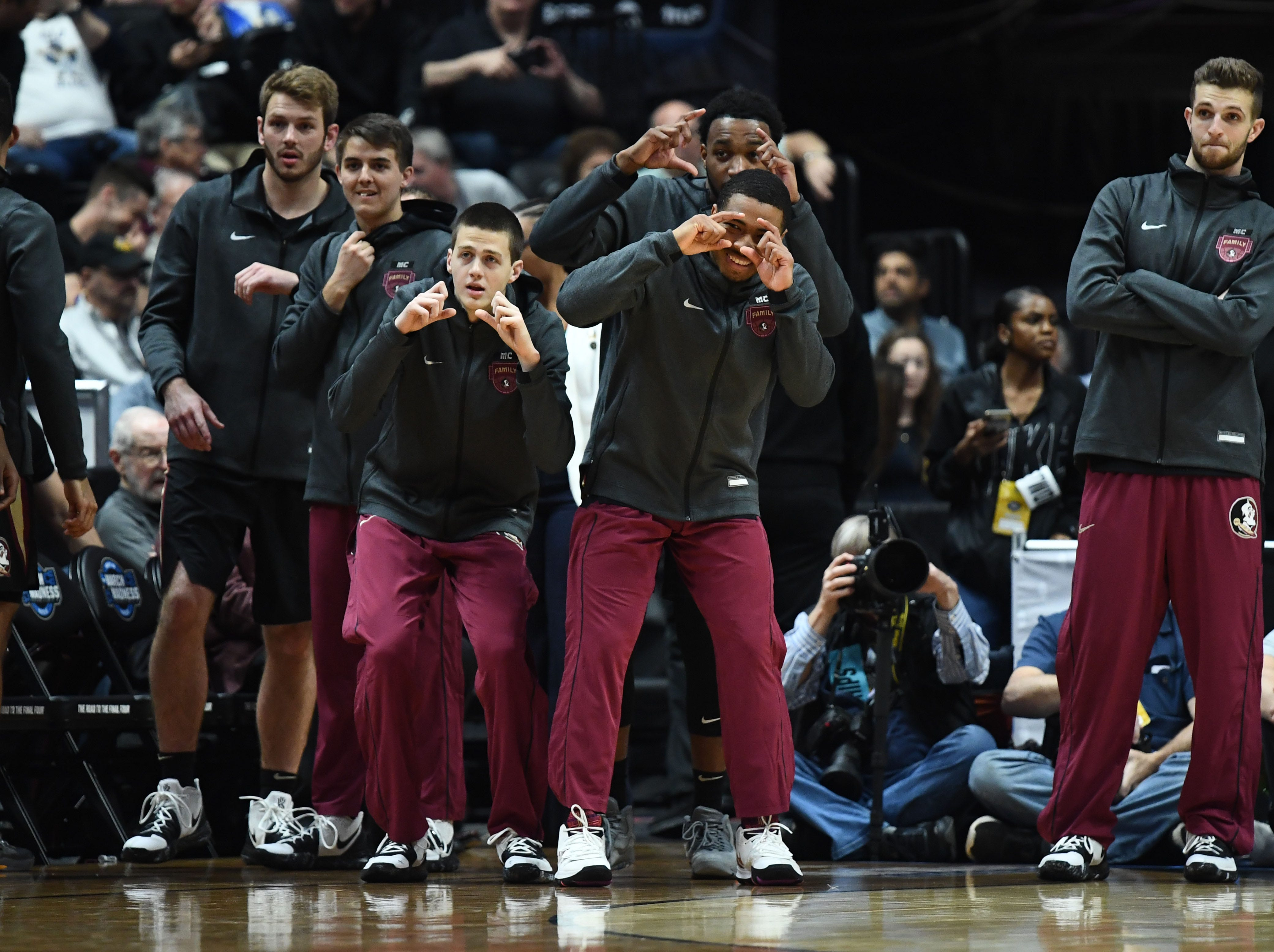 March 28, 2019; Anaheim, CA, USA; Florida State Seminoles during introductions before playing Gonzaga Bulldogs  in the semifinals of the west regional of the 2019 NCAA Tournament at Honda Center. Mandatory Credit: Robert Hanashiro-USA TODAY Sports