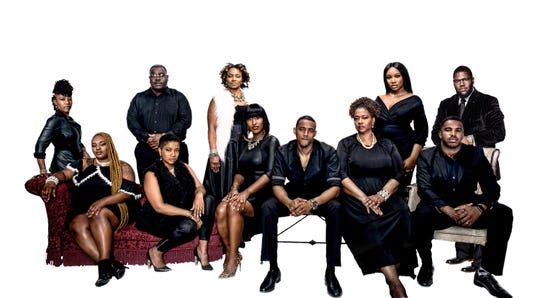 The cast of Me Against the World. Back Row L-R: Yanela McLeod, Jeremy Battles, Tracye Hines, Gladys Olivia Murray and Benny L. Bolden. Front Row: Auriel Franklin, Deanne Williams, Star Swain, Ki'Jana K. Garmon, Franchatta La'Kay Jackson Barber and Parnell Williams.