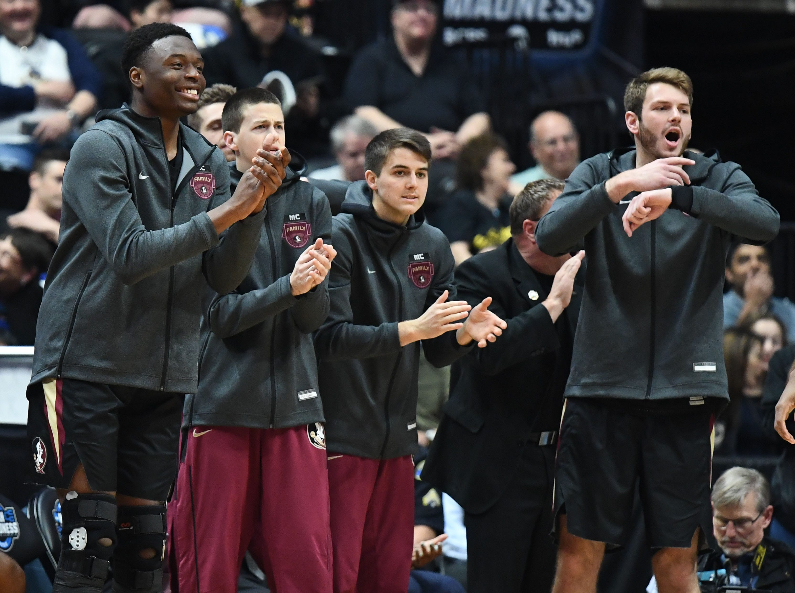 March 28, 2019; Anaheim, CA, USA; Florida State Seminoles bench reacts against Gonzaga Bulldogs during the first half in the semifinals of the west regional of the 2019 NCAA Tournament at Honda Center. Mandatory Credit: Robert Hanashiro-USA TODAY Sports