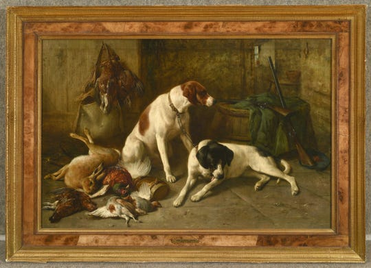 "John Sargeant Noble's ""Pointers and Dead Game"" is part of the  ""Working Like A Dog"" exhibit at Pebble Hill Plantation."