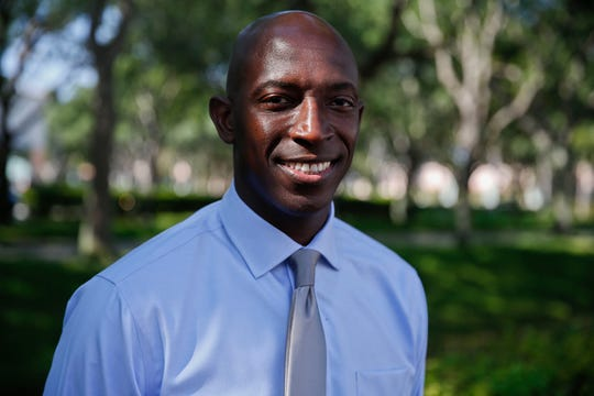 In this Wednesday, March 27, 2019,  photo, Miramar Mayor Wayne Messam poses for a portrait, in Miramar. Messam announced March 28, 2019, he is running for the Democratic presidential nomination.