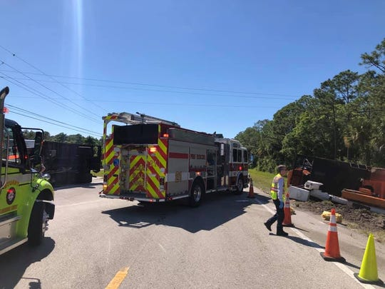 Martin County Sheriff's Office deputies were on the scene of a rollover crash involving two trucks Wednesday, March 27, 2019, at State Road 714 and Southwest 72nd Drive.