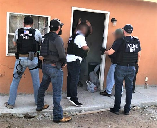 ICE Homeland Security Investigations agents raid an immigrant stash house on Seville Drive in South-Central El Paso.