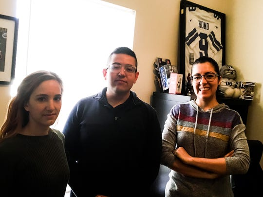 "ZGN Productions' sound editor Nina Hedberg, from left, editor Chris Hanna and producer Rebecca Garcia, are finishing their documentary, ""Now or Never: A Tony Romo Story."""