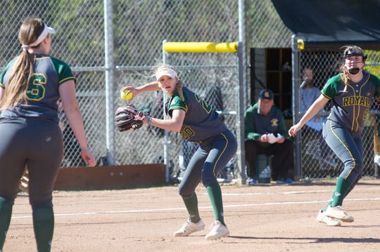 Pitcher Hanna Sattler has started 12-2 with a 1.02 ERA for the Royal High softball team this season.