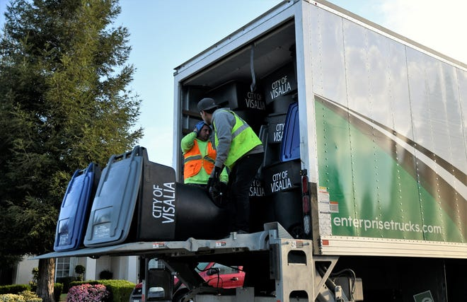 Visalia sanitation crews hit the streetsto swap out more than 60,000 cans across the city.