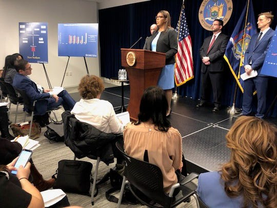New York Attorney General Letitia James announces filing what she called the nation's most comprehensive lawsuit against opioid distributors and manufacturers, March 28, 2019, in New York City.