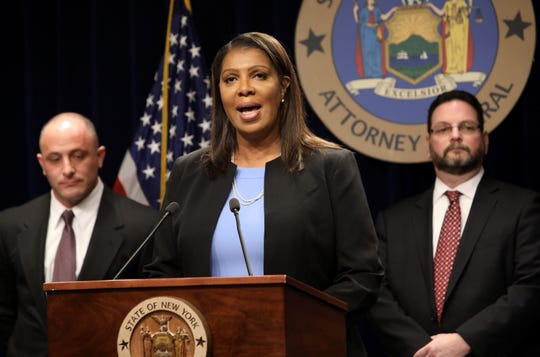 Attorney General Letitia James announces that she filed the nation's most comprehensive suit against opioid distributors and manufacturers and the Sackler family March 28, 2019 in New York City.