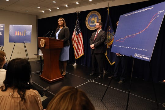 Attorney General Letitia James announced that she filed the nation's most comprehensive suit against opioid distributors and manufacturers and the Sackler family March 28, 2019 in New York City.