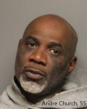 Andre Church, 55, was charged with possession of a firearm by a prohibited person and by someone committing a felony, receiving a stolen firearm, conspiracy, three counts of possession of drugs with intent to distribute and possession of drug paraphernalia.