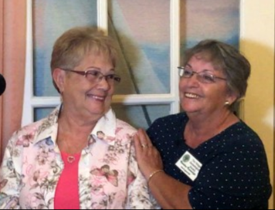 Liz Cuccinello, left, gets to know her newfound half-sister Christine Courtwright during a visit to Florida.