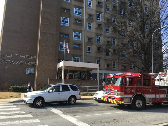 Wilmington Fire Department responded to a fire at Luther Towers on Thursday. Residents were partially evacuated for the small fire in an apartment wall.