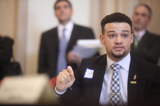 James Elliott speaks at a Senate Judiciary Committee hearing at Legislative Hall in Dover on March 27. Elliott spoke in favor of a bill that would increase access to expungements for adults with criminal records.