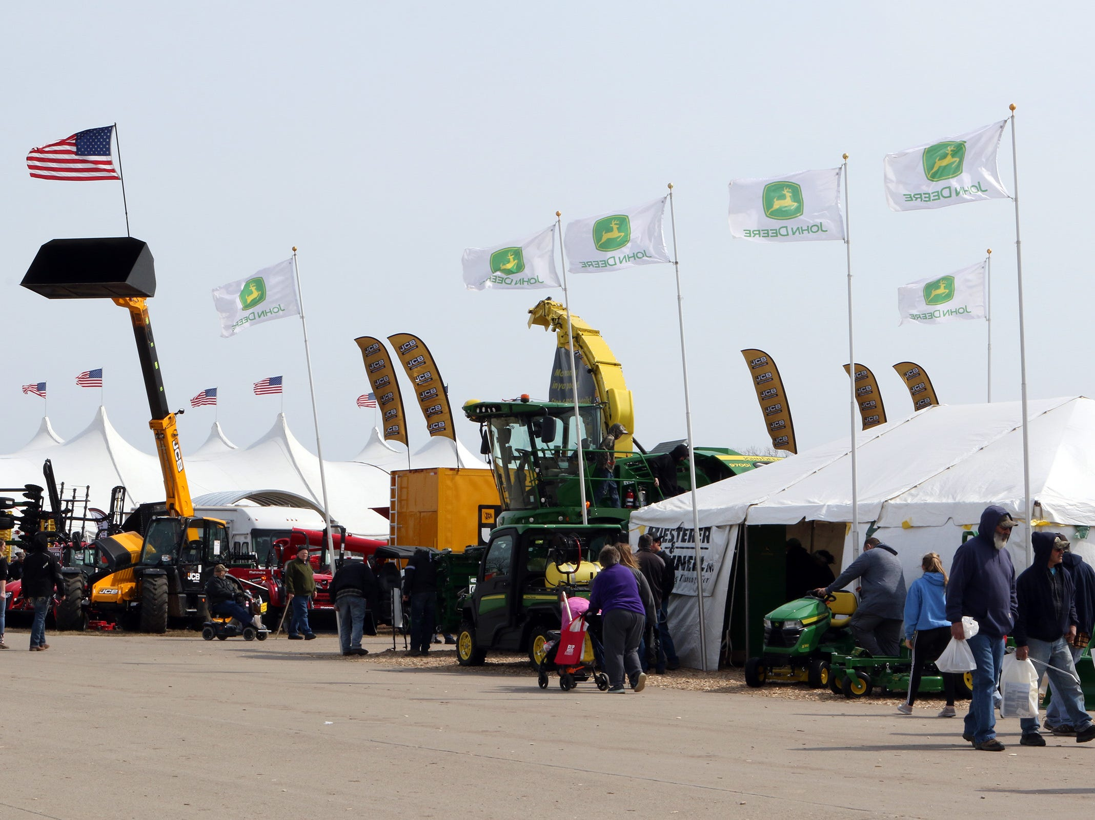A stiff wind kept flags flying at the Wisconsin Public Service Farm Show on March 27 in Oshkosh.