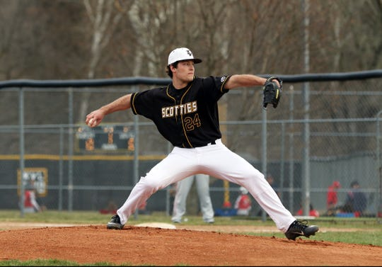 Tri-Valley's Chase Kendrick pitches against Sheridan Thursday afternoon in Dresden. The Scotties edged the Generals 2-1.