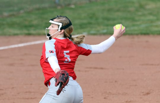 Sheridan's Sydney Compolo pitches against Tri-Valley in Dresden. The Generals came back on the Scotties to win 4-3.
