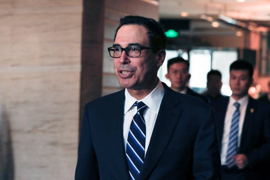 Steven Mnuchin, United States Secretary of the Treasury, arrives at the Westin Hotel in Beijing, China, 28 March 2019. A US delegation is in Beijing to conduct bilateral trade talks with China.