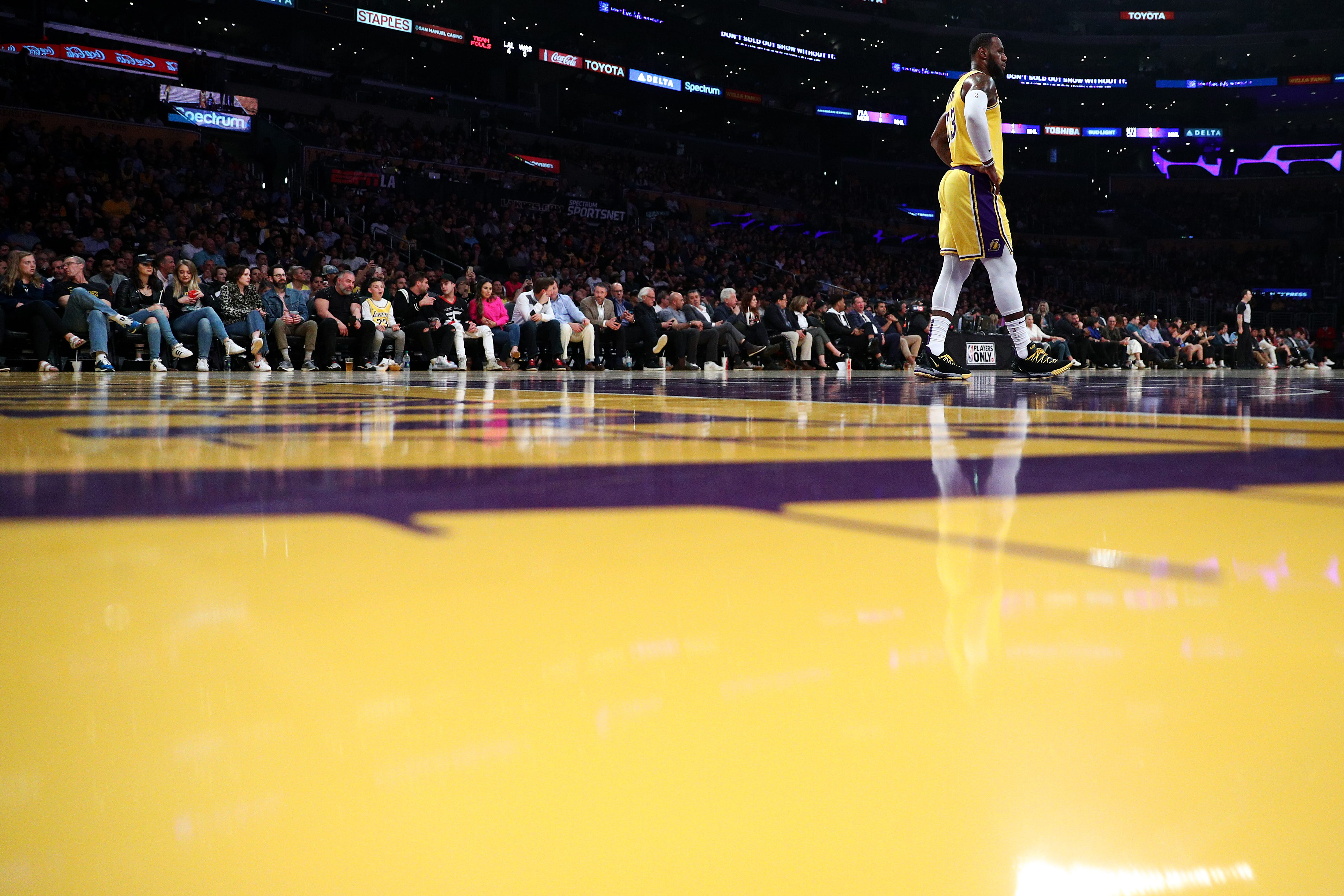 March 26, 2019: LeBron James looks on during the Los Angeles Lakers' 124-106 win over the Washington Wizards at Staples Center.
