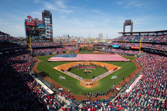 Citizens Bank Park during the national anthem on opening day.