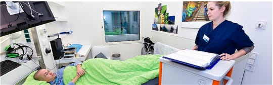 Volunteers will lie flat in bed for two months in rooms like this.
