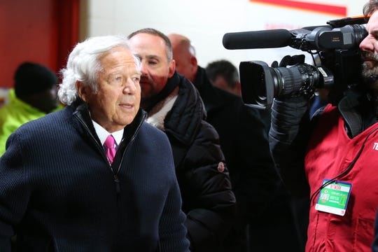 Robert Kraft attends the AFC championship game at Arrowhead Stadium.