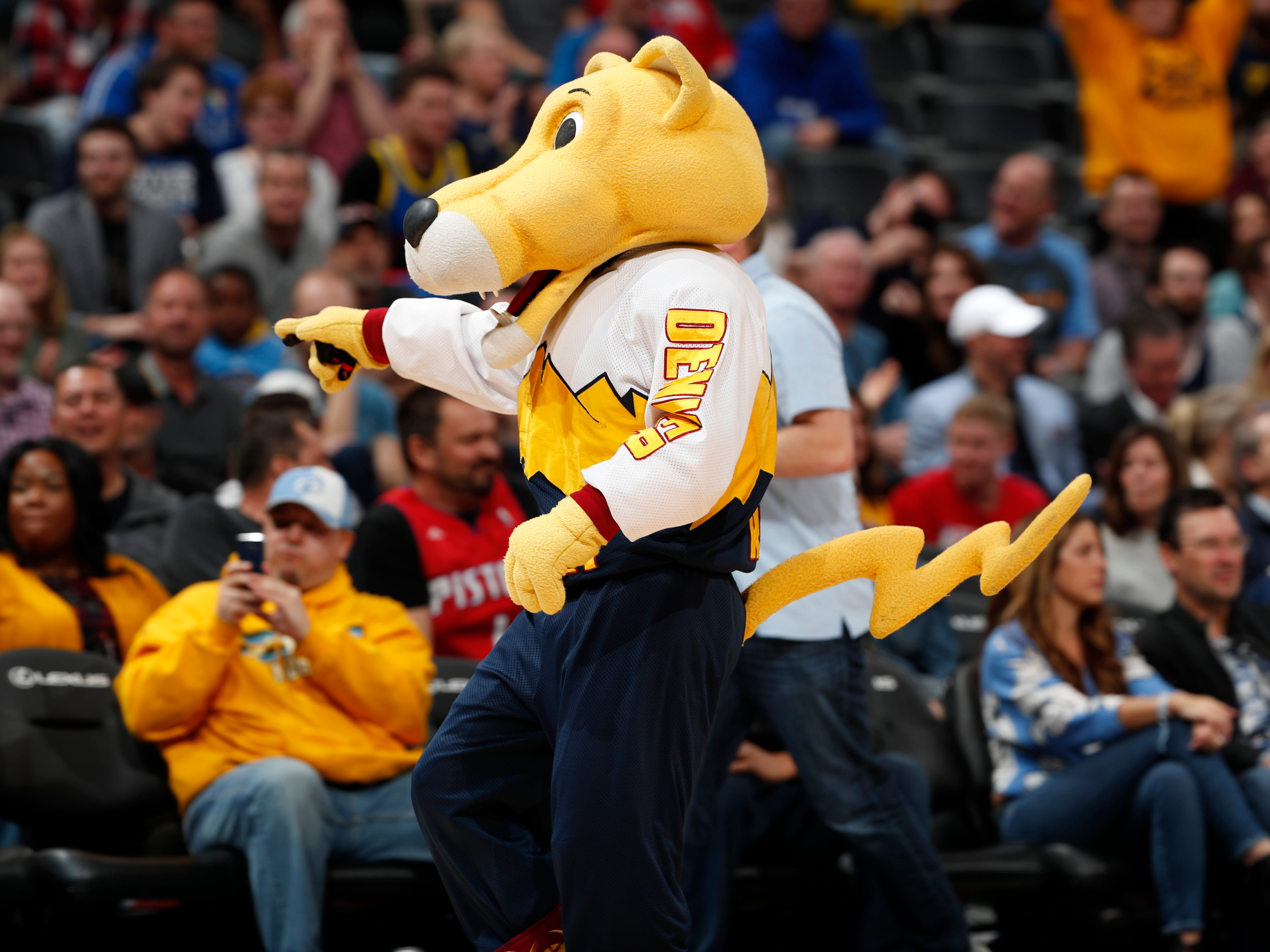 March 27: Denver Nuggets mascot Rocky the mountain lion performs.