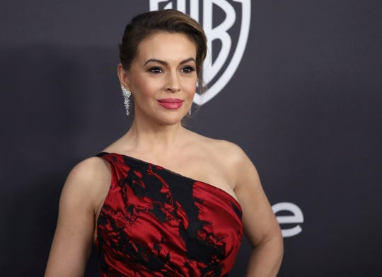 """Alyssa Milano on Jan. 6, 2019 at a Golden Globes afterparty in Beverly Hills, Calif.  She spearheaded letter from dozens of Hollywood celebrities to Georgia leaders saying they will urge entertainment companies to abandon the state if a """"heartbeat"""" abortion bill becomes law."""