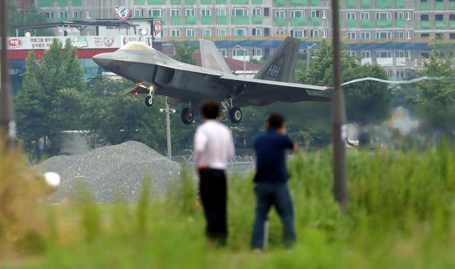 A U.S. military jet in Gwangju, South Korea.