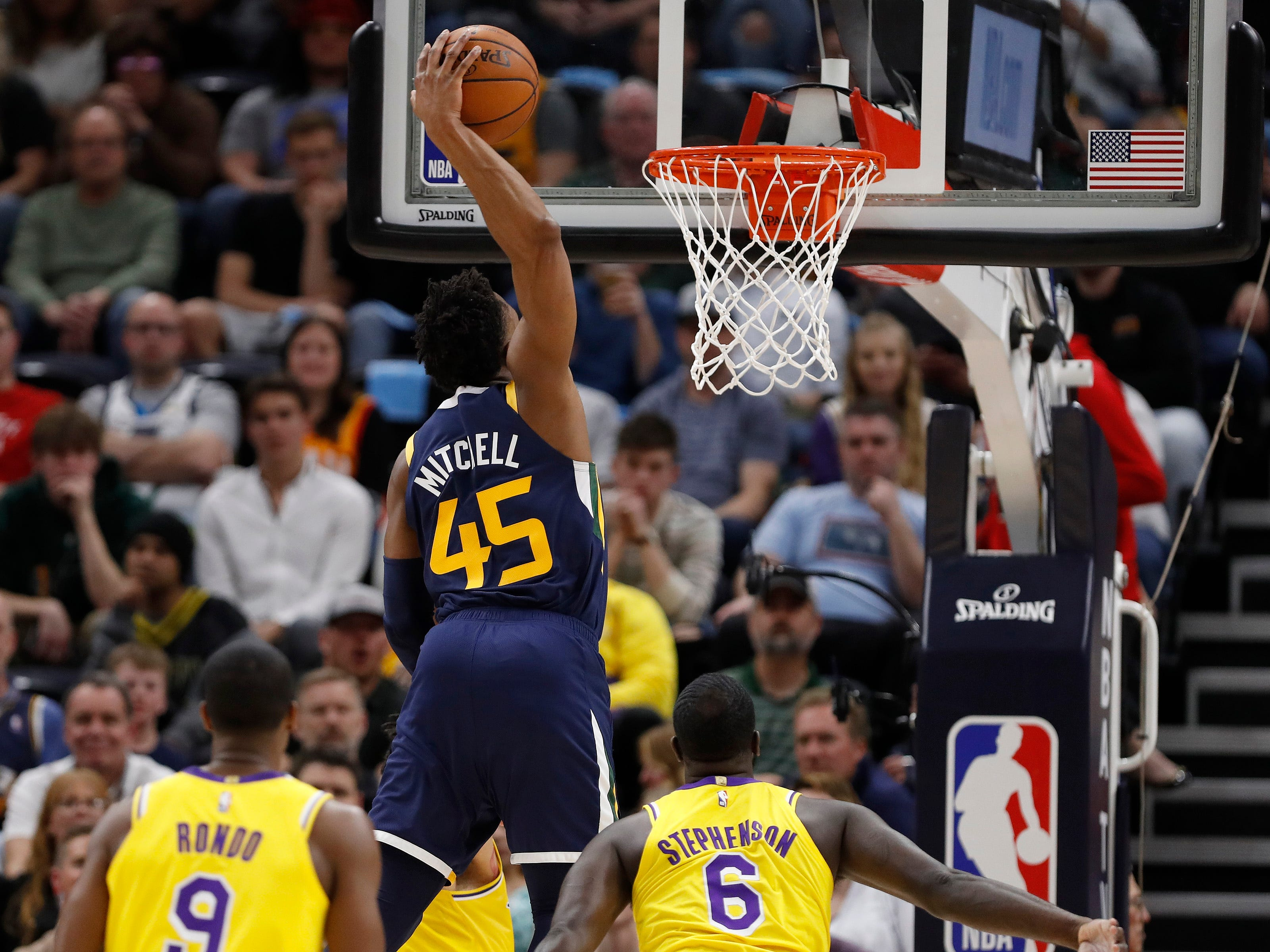 March 27: Utah Jazz guard Donovan Mitchell (45) dunks against the Los Angeles Lakers at Vivint Smart Home Arena.
