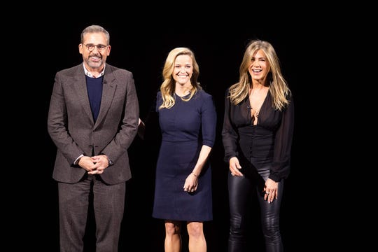 If you wanted to see celebrities on March 25, Apple's headquarters was the place to be. The place was filled with stars talking up their forthcoming Apple TV series. Case in point: Steve Carell, Reese Witherspoon and Jennifer Aniston, who will play morning TV anchors on an as-yet-untitled drama.