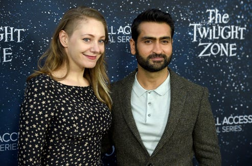 "Kumail Nanjiani (right) and wife Emily V. Gordon arrive at the L.A. premiere of ""The Twilight Zone."""