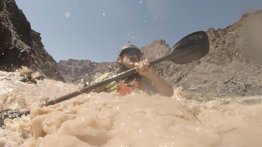 Veteran Lonnie Bedwell kayaks the Colorado River