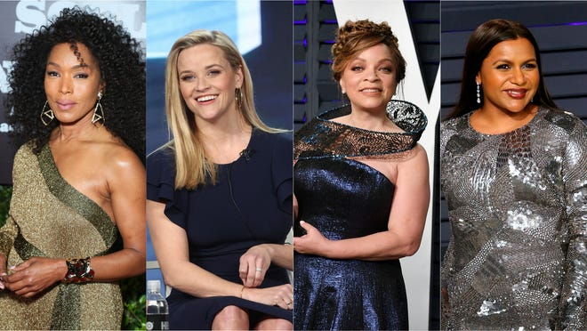 L-R: Angela Bassett, Reese Witherspoon, Ruth Carter and Mindy Kaling are just a few members of Hollywood celebrating Women's History Month with the #WomenDancingTogether challenge.