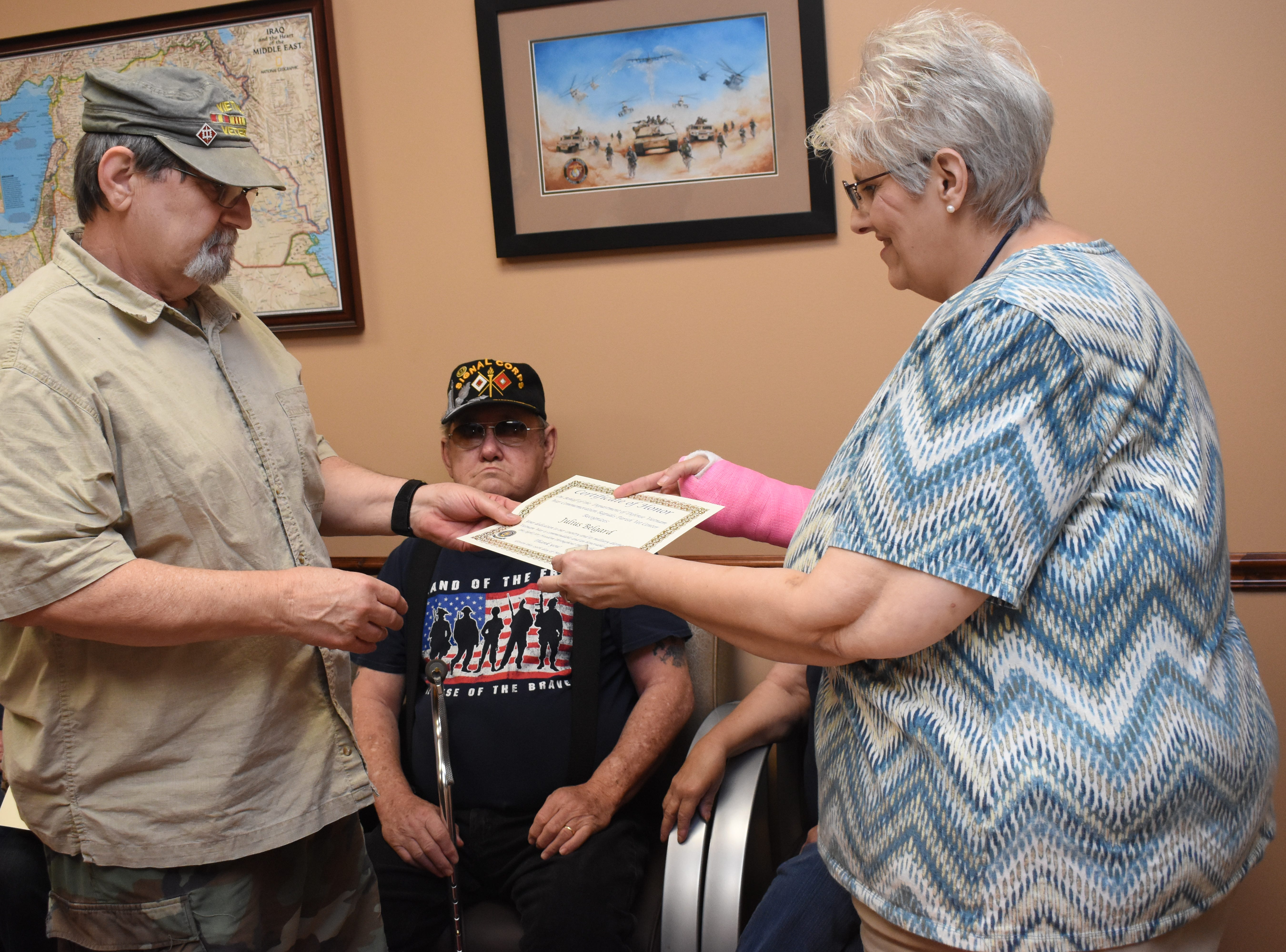 """Rapides Parish Vet Center, located at 5803 Coliseum Blvd., which serves combat-era military veterans, held a pin ceremony Friday, March 29, 2019 for Vietnam War veterans in recognition of Vietnam Veterans Day. Over the course of the day over 50 pins and certificates were handed out. Vietnam Veterans Day honors those who served and their families. The Vietnam War Veterans Recognition Act  was signed into law in 2017. """"Welcome Home Vietnam Veterans Day"""" is celebrated in most states on March 29 or March 30. On March 29, 1973 the last troops withdrew from Vietnam and American prisoners of war were returned. This is also the date President Richard Nixon designated for the first Vietnam Veterans Day in 1974. For more information about the Rapides Parish Vet Center and their services, call (318) 466-4327."""